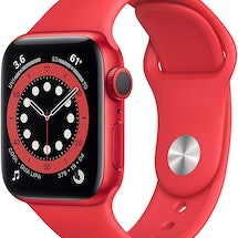 An Apple Watch Series 6 in red, one of many Apple Amazon Prime Day deals.