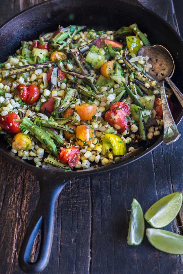 charred okra, corn, tomato salad