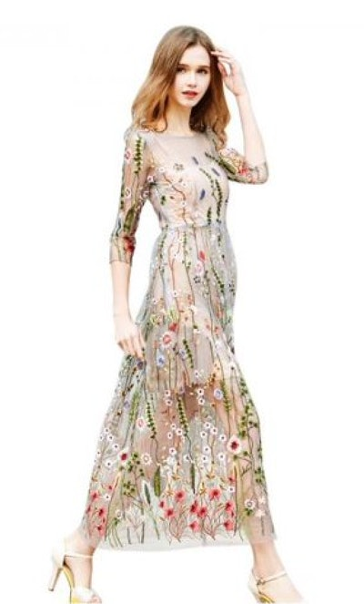 Boho Embroidered Lace Floral Long Sheer Mesh Dress