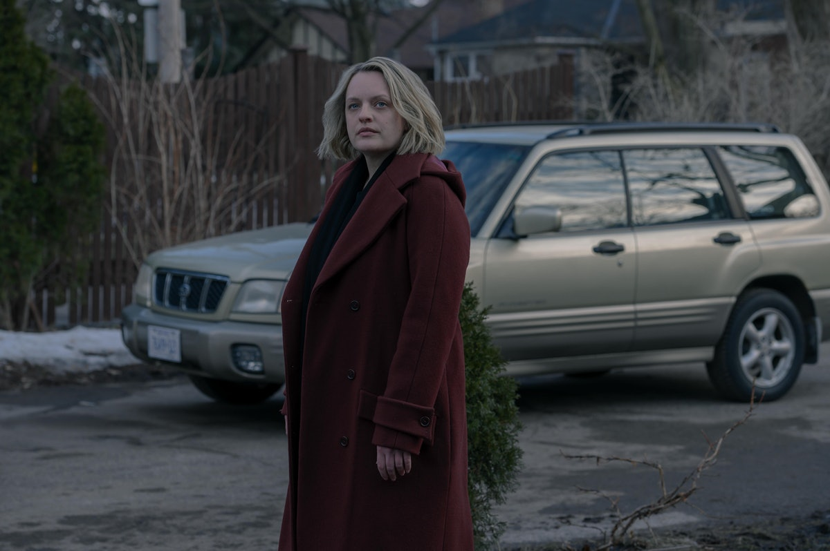 Elisabeth Moss as June at the end of The Handmaid's Tale Season 4 finale.