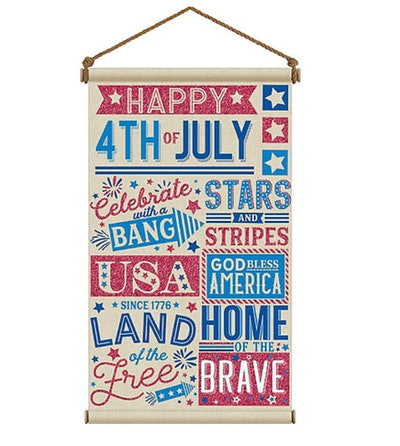 Patriotic Red, White & Blue 4th of July Canvas Sign