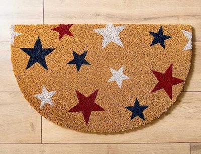 Red, White, and Blue Stars Half Round Doormat