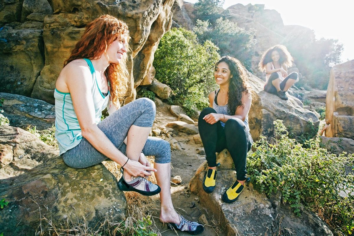 Young women hiking, in need of Instagram captions.