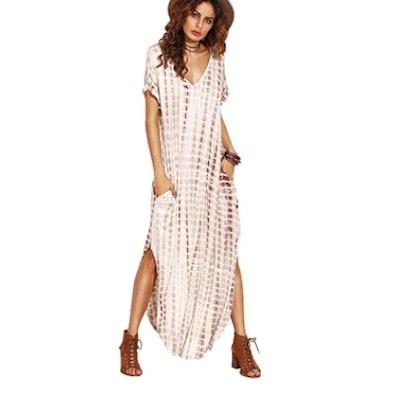 MakeMeChic Boho Maxi Short Sleeve Split Dress