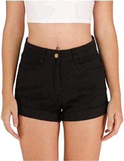 Haola High Waisted Folded Hem Jean Shorts