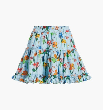 The Paz Skirt in Light Blue Space Floral Linen