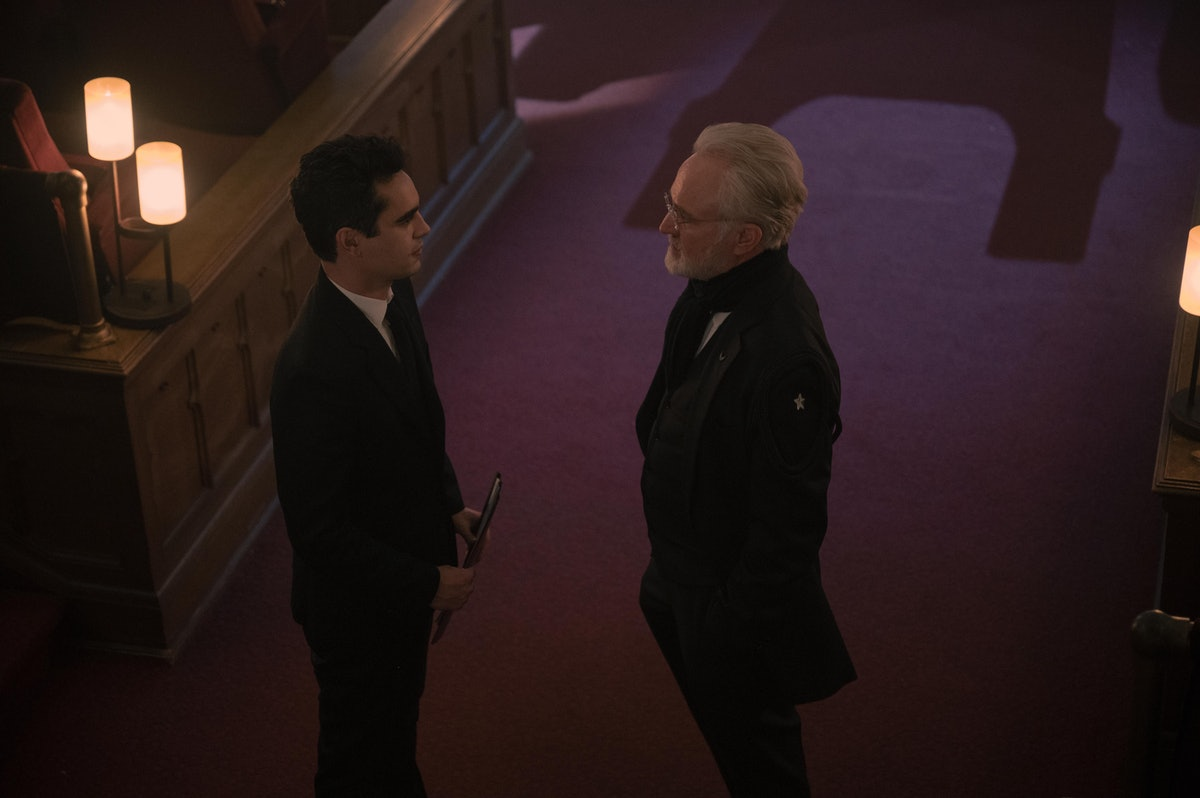 Max Minghella as Commander Nick Blaine and Bradley Whitford as Commander Joseph Lawrence conspiring ...