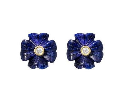 Brent Neale Small Lapis Diamond Clover Earrings