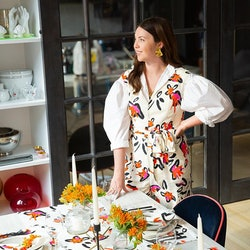 Designer Tanya Taylor poses with her new home collection.