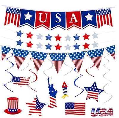 37Pcs 4th of July Banner Decorations Patriotic Party Supplies