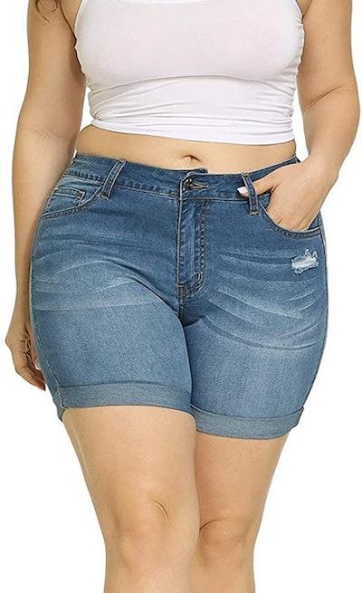 Allegrace Plus Size Denim Shorts