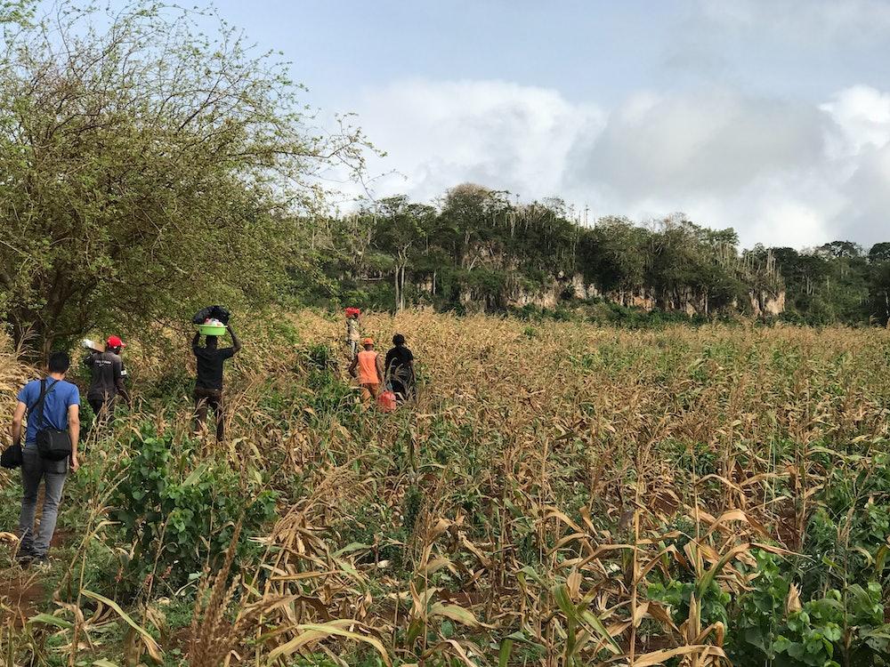 A team of scientists makes their way to the Panga Ya Saidi cave
