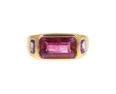 Brent Neale Pink Tourmaline and Pink Sapphire Gypsy Ring