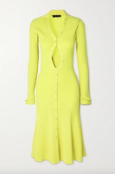 David Koma Cutout neon ribbed-knit midi dress
