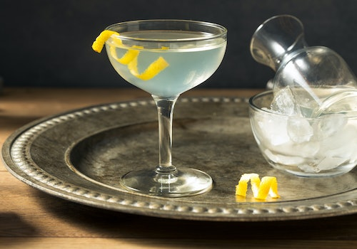 A gin martini with a twist in honor of National Martini Day.