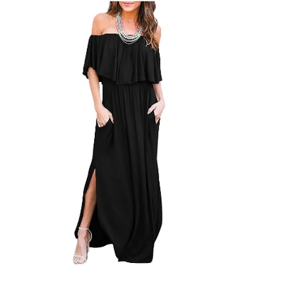 THANTH Off The Shoulder Ruffle Party Dress