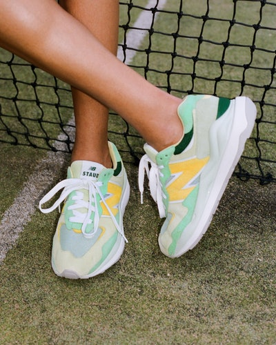 Green and yellow sneaker from the New Balance x STAUD collaboration.