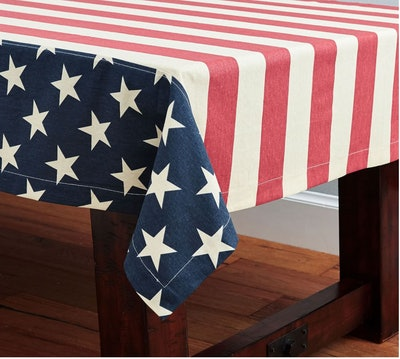 American Flag Linen/Cotton Tablecloth