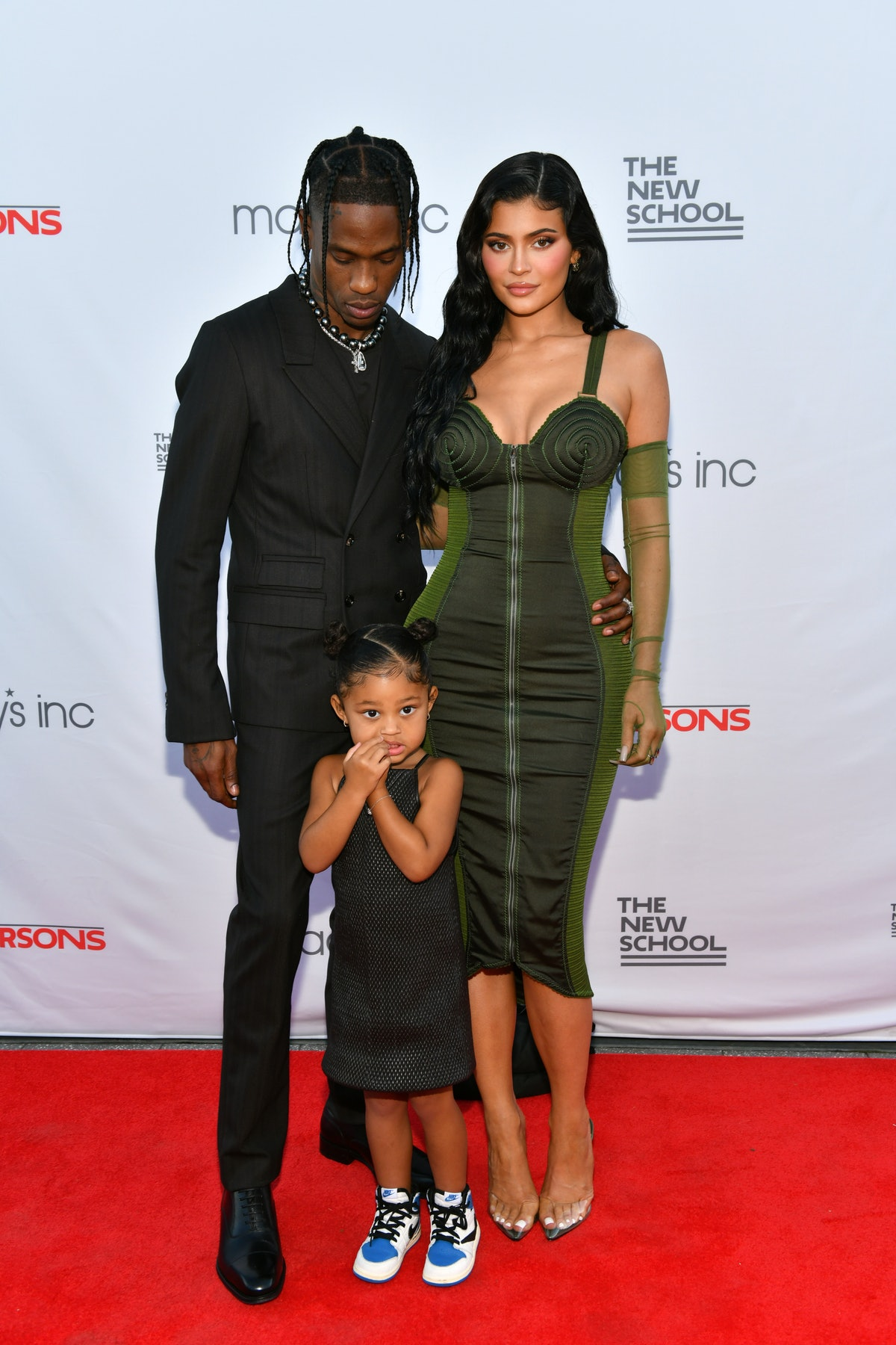 Travis Scott and Kylie Jenner with their daughter Stormi Webster at the 2021 Parsons benefit