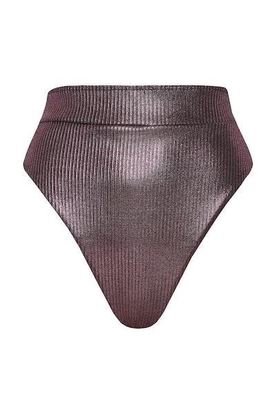 Rhiannon High Waist Pant in Purple Foil Rib