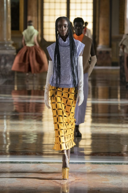Model walks in Valentino Spring/Summer 2021 Couture show.