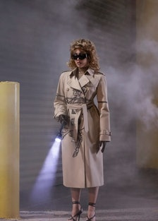 Lourdes Leon wearing a wig and Burberry trench coat