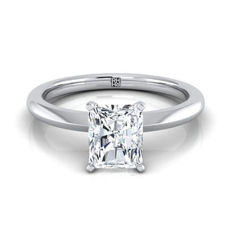 White Gold Radiant Cut Center Petite Knife Edge Solitaire Engagement Ring