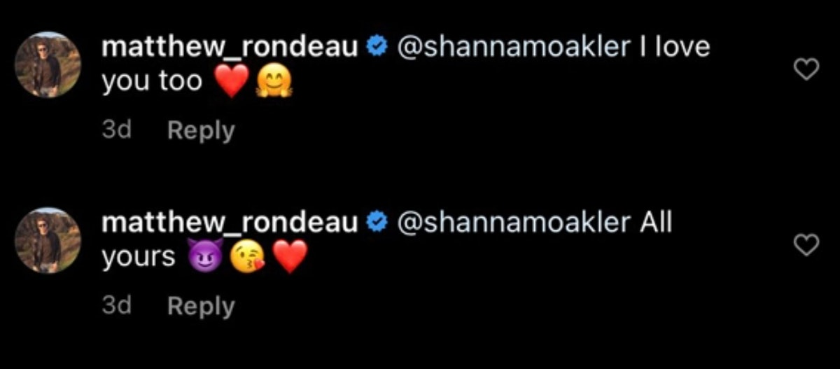 Shanna Moakler and Matthew Rondeau's Instagram exchanges have been deleted.