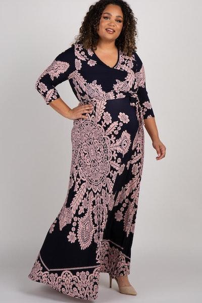 Navy Print Draped Plus Maternity/Nursing Maxi Dress