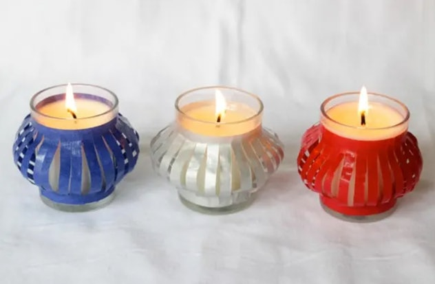 Decorative votives are a 4th of July craft to make with kids.