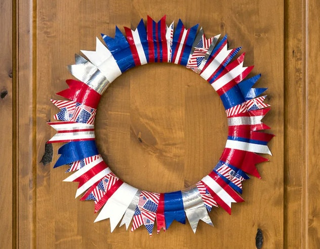 A duct tape wreath is a fun 4th of July craft for kids.