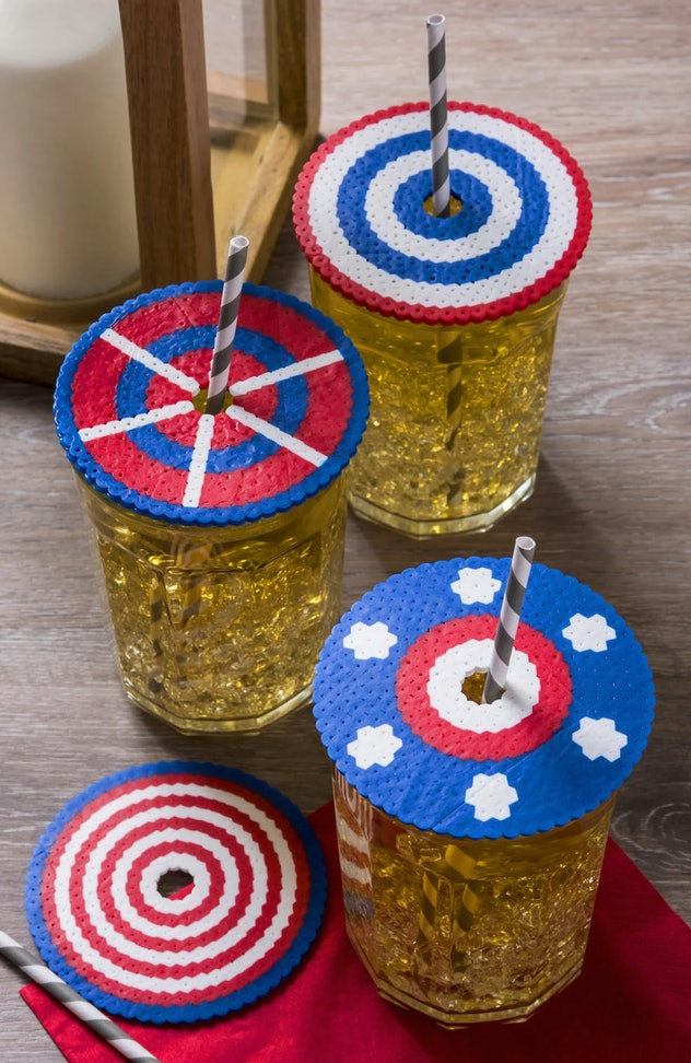 Beaded drink covers are a pretty 4th of July craft for kids to make.