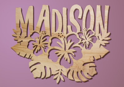 Personalized Hibiscus Wood Sign