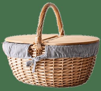 Blue & White Stripe Picnic Basket