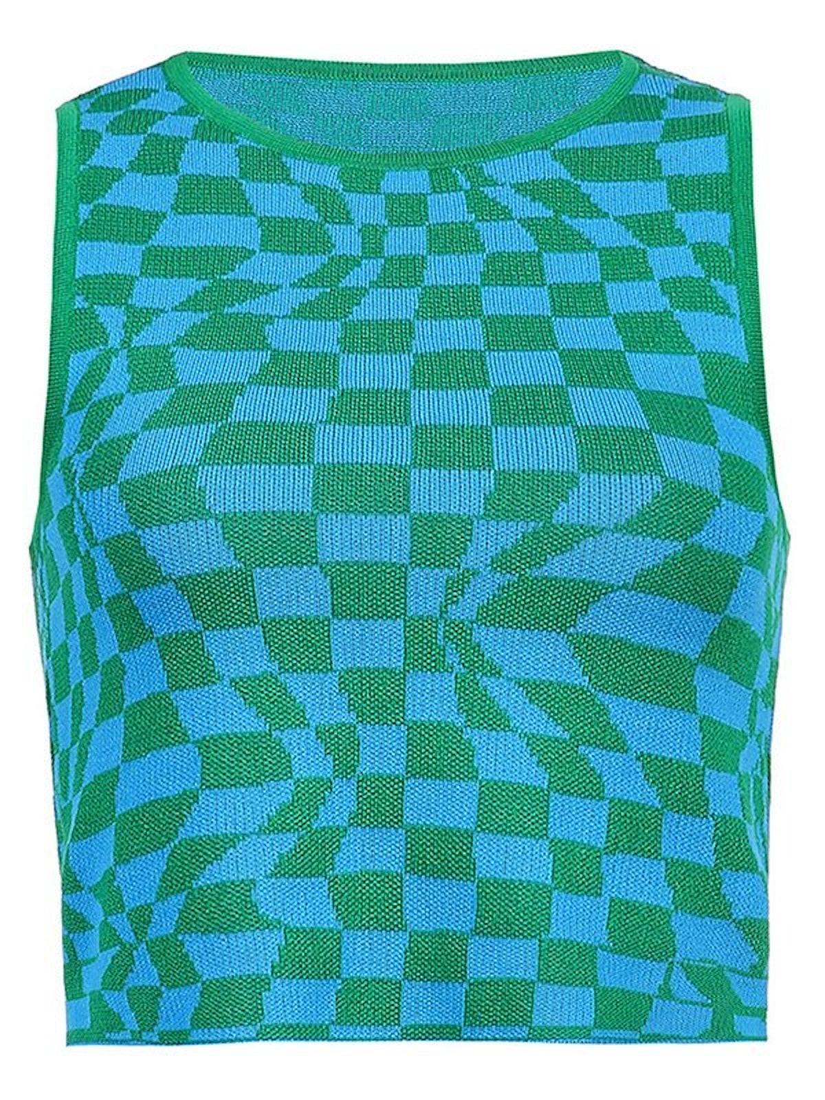 Emmiol Checkered Print Crop Tank Top