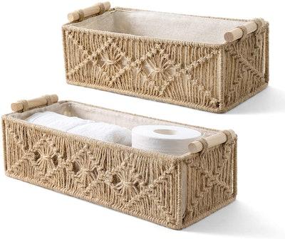 Mkono Macrame Storage Baskets (Set of 2)