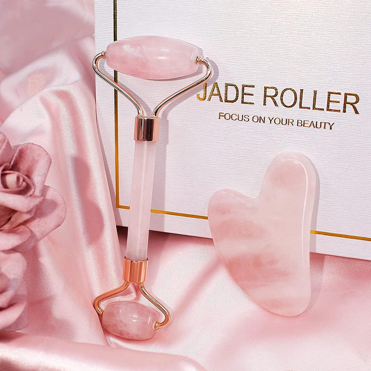 BAIMEI Rose Quartz Jade Roller & Gua Sha Set