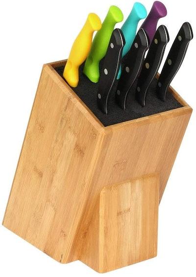 Mantello XL Universal Bamboo Wood Knife Block