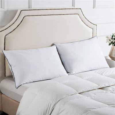 Puredown Premium White Goose Feather Pillows (2-Pack)