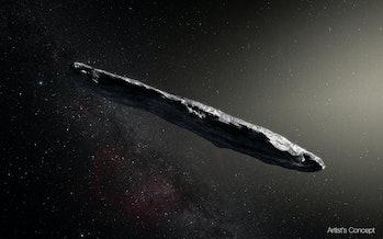 An illustration of interstellar comet Oumuamua.