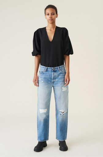 Overwashed Denim Low Waist Relaxed Fit Jeans
