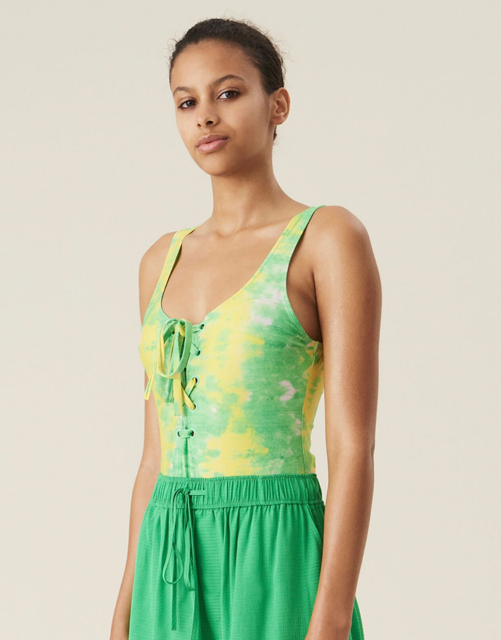 Recycled Printed Lace-Up Swimsuit