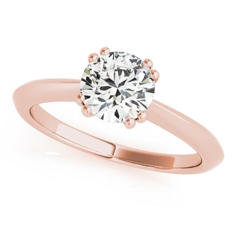 Solitaire Petite Knife Edge Engagement Ring in Rose Gold