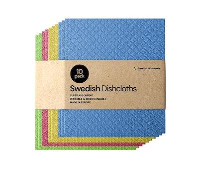 Swedish Dishcloth Cellulose Sponge Cloths (10-Pack)