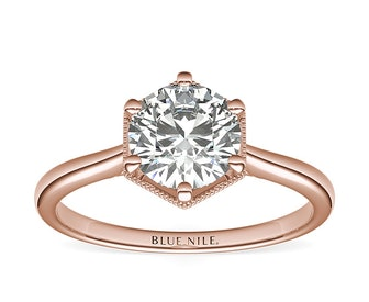 1ct Round Halo Engagement Ring in 14k Rose Gold