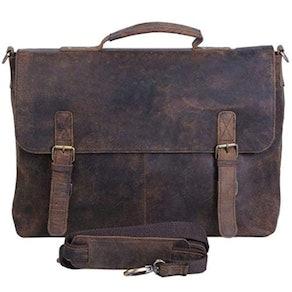 KomalC Buffalo Hunter Leather Messenger Bag