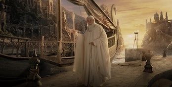 Gandalf leading the journey to the Undying Lands in Lord of the Rings: Return of the King