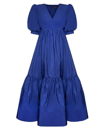 V-Neck Gown With Gathered Sleeve and Skirt