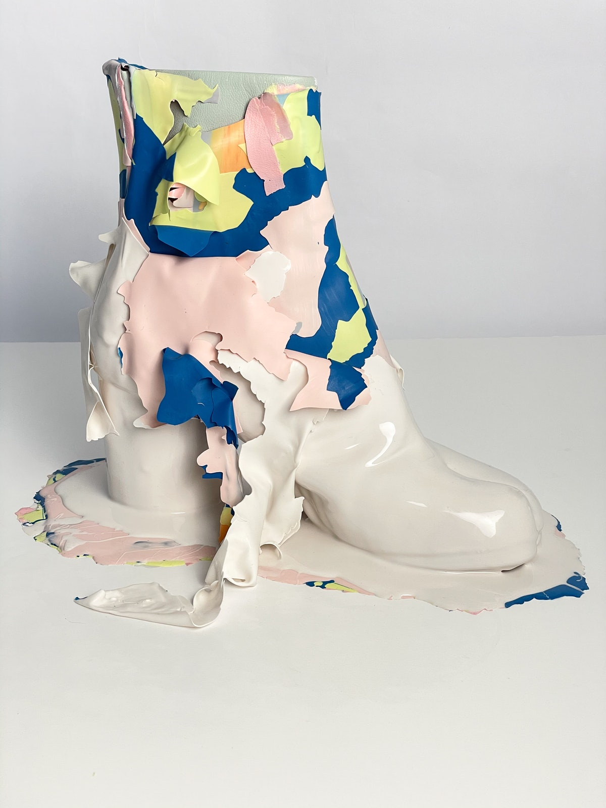 a sculpture made of a Margiela boot and silicon