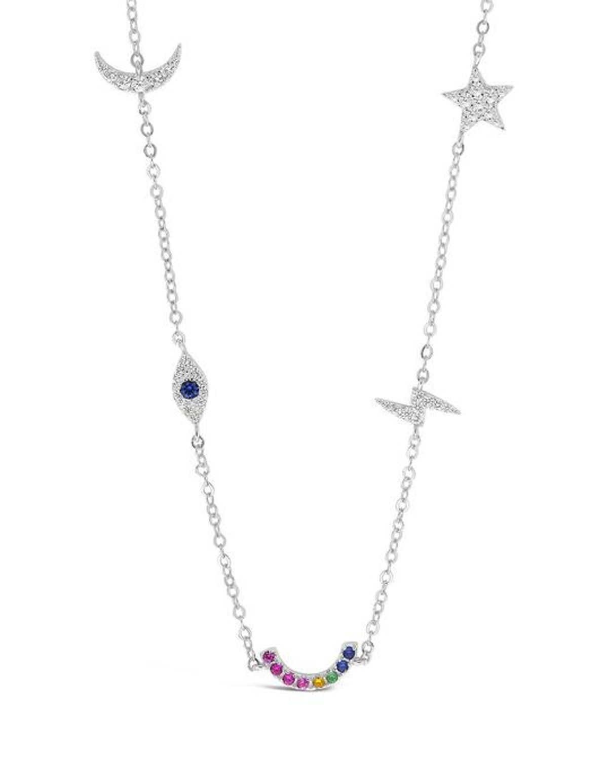Sterling Silver Lucky Charm Station Necklace